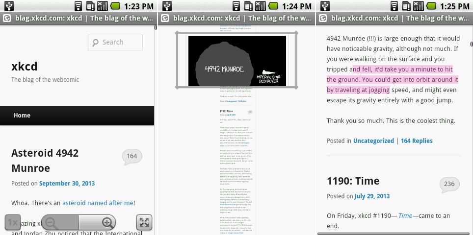 从左到右:新的浏览器控件,缩放视图,复制/粘贴文本高亮。