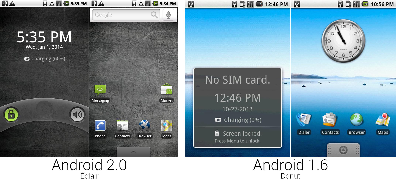 安卓2.0和1.6的锁屏和主屏幕。