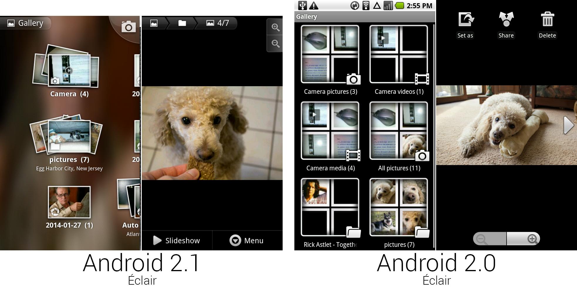 安卓2.1和2.0中的相册和单独图片查看界面。