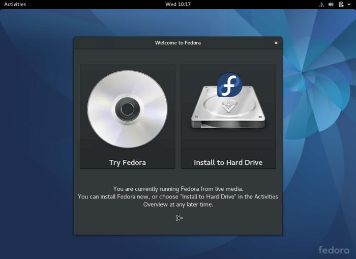 Fedora 25 Welcome Screen