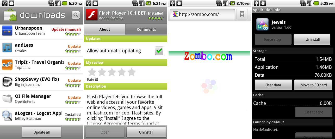 """下载页面有了""""更新所有""""按钮,这是个 Flash 应用,一个 flash 驱动的一切皆有可能的网站,以及""""移动到 SD""""按钮。"""