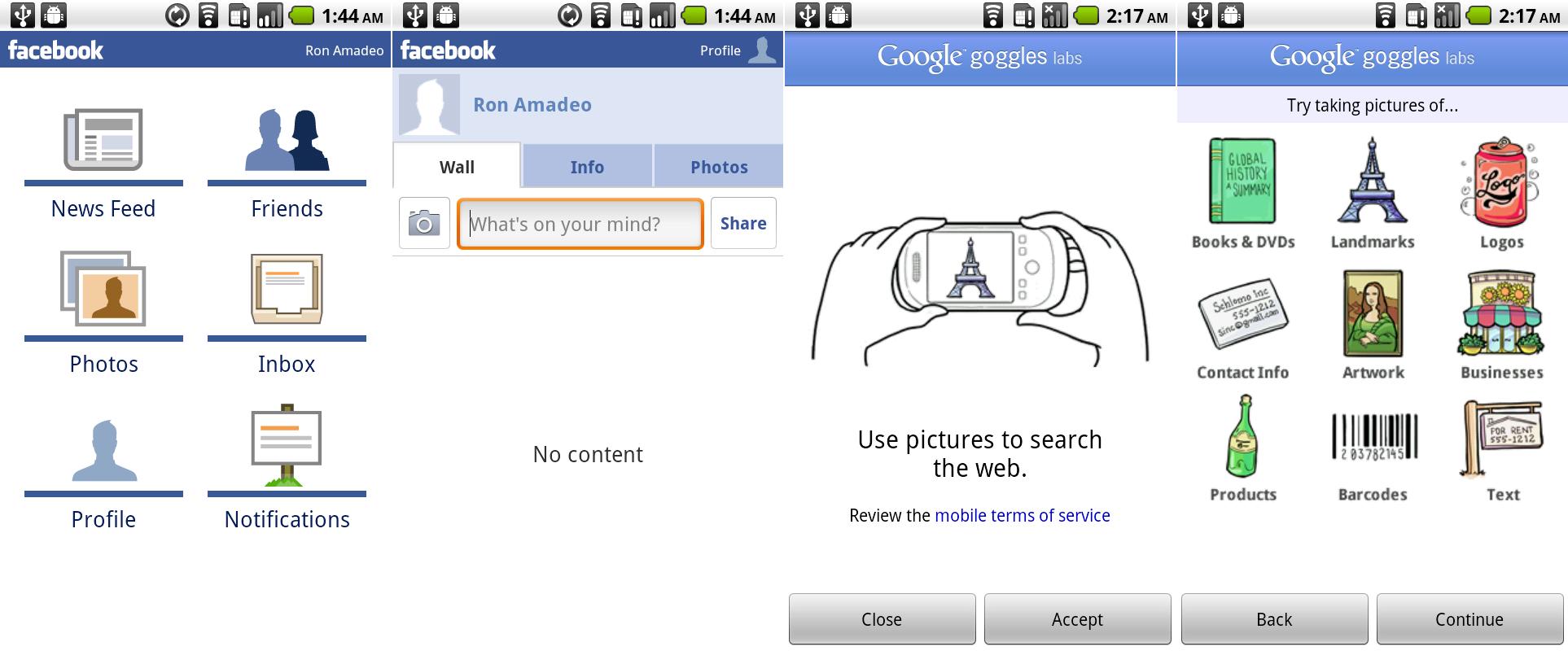 半残缺的Facebook应用是个常见的2x3导航页面的优秀范例。谷歌Goggles被包含了进来但同样是残缺的。