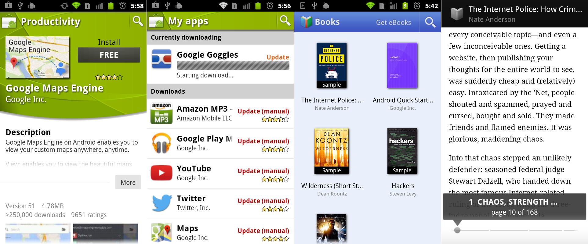 """市场的一个带有可折叠描述的应用详情页面,""""我的应用""""界面,以及Google Books界面截图。"""