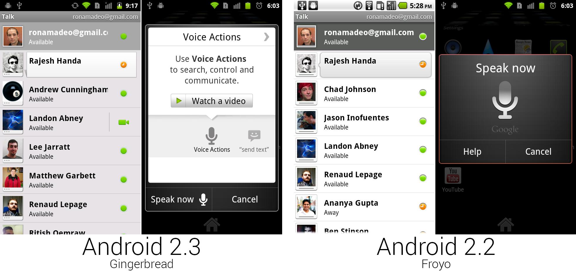 新 Google Talk,支持语音和视频通话,以及新语音命令界面。