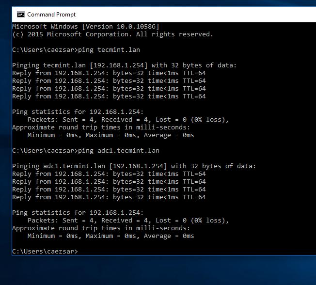 Check Network Connectivity Between Windows and Samba4 AD
