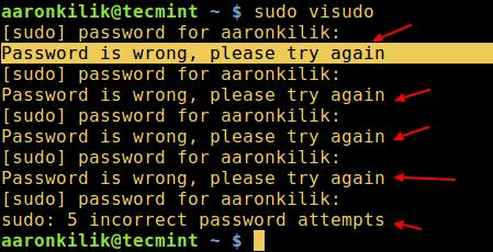 Sudo badpassword Message