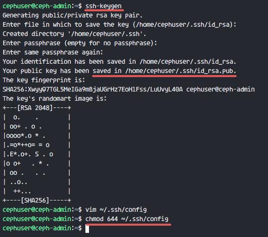 Ceph-admin configuration
