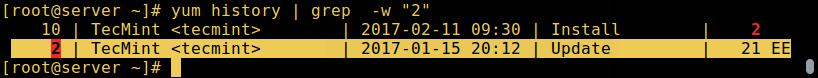 Yum - 查找软件包事务的 ID
