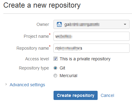 Bitbucket - Create a New Repository