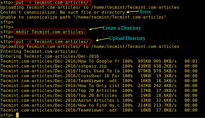 Upload Directory using SFTP