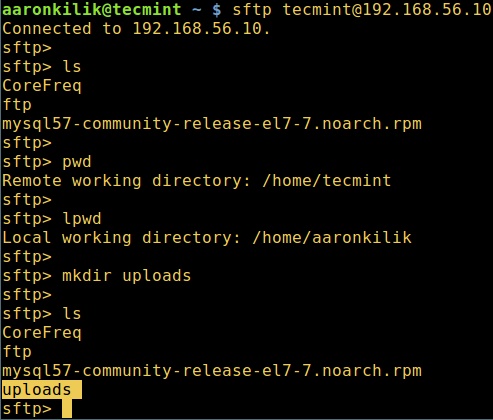 Run sFTP Commands on Remote Linux
