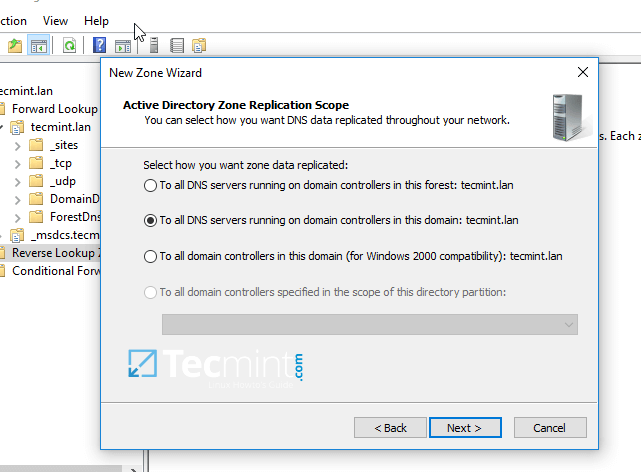 Select DNS for Samba Domain Controller