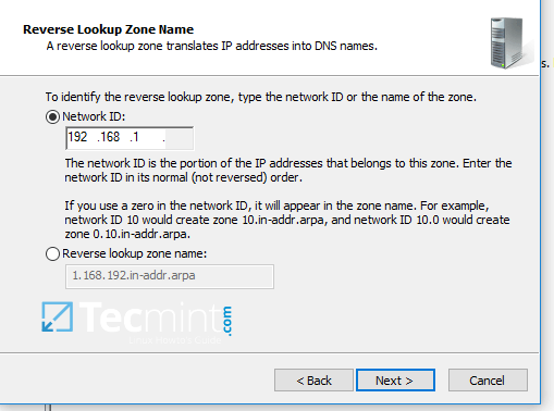 Add IP Address of Reverse Lookup DNS Zone