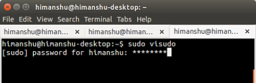 hide the sudo password