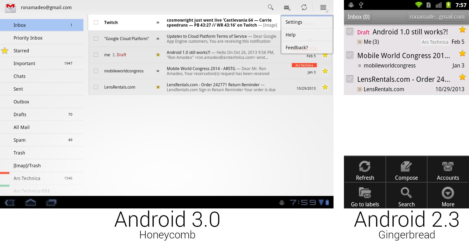 打开菜单的 Gmail 在蜂巢和姜饼上的效果。按钮布置在首屏更容易被发现。