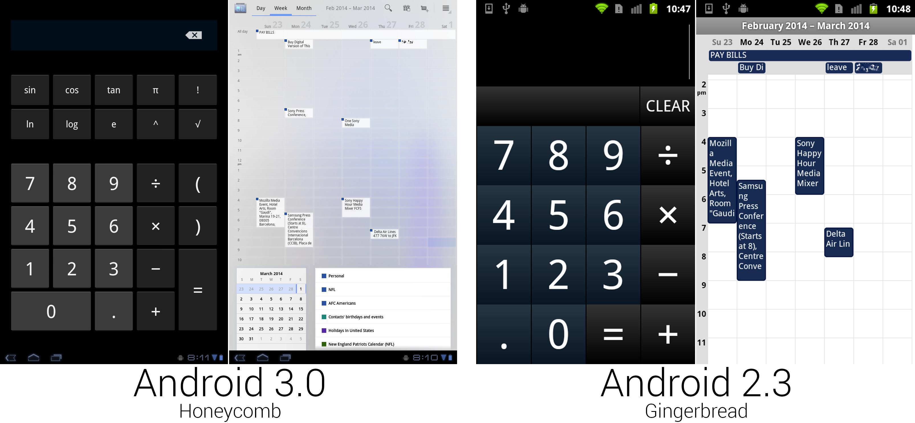 计算器使用了常规的安卓按钮,但日历看起来像是被谁打翻了蓝墨水。