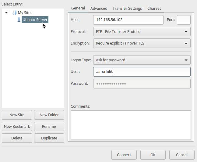 在Filezilla上配置新的FTP站点