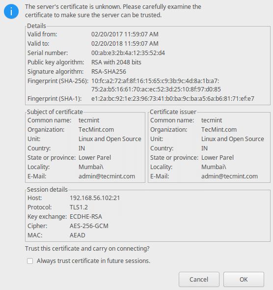 验证FTP的SSL证书