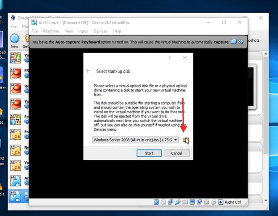 Choose Arch Linux Disk image