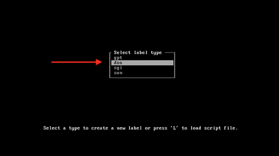 Create a partition of type DOS