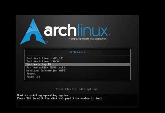 Boot Arch Linux