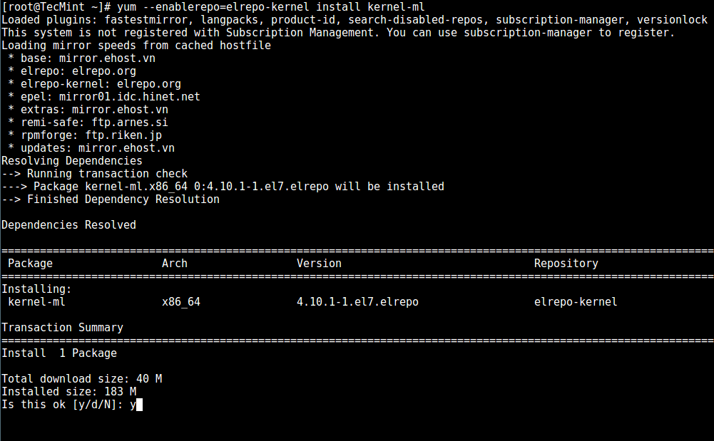 Install Latest Kernel Version in CentOS 7