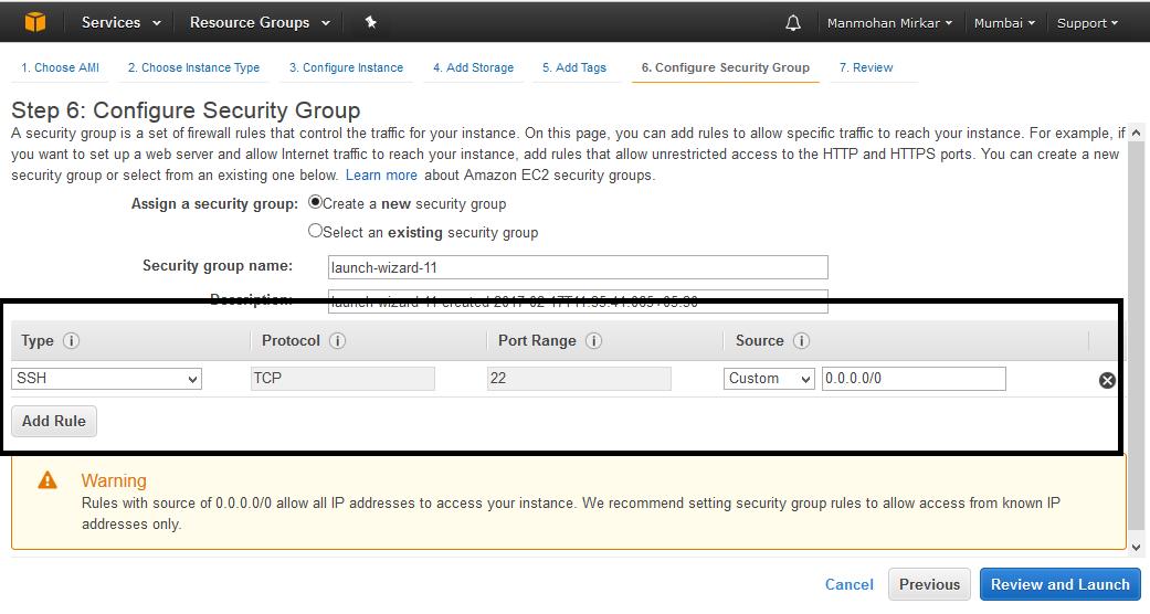 Configure AWS server
