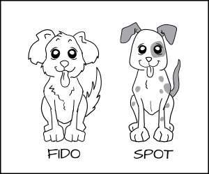 Cartoon of two dogs fido and spot