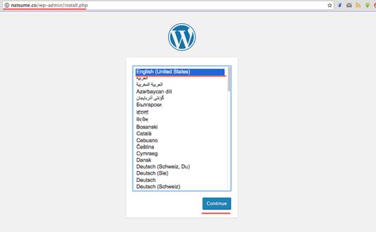 安装 Wordpress - 语言选择