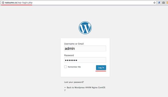 登录到 wordpress 管理面板
