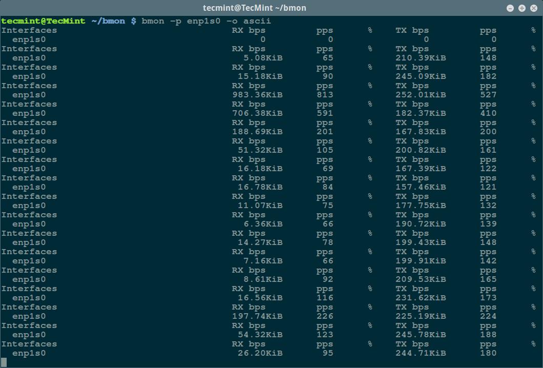 bmon - Ascii 输出模式