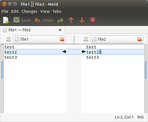 Compare files in Meld