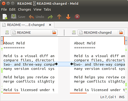 Meld advanced file comparison