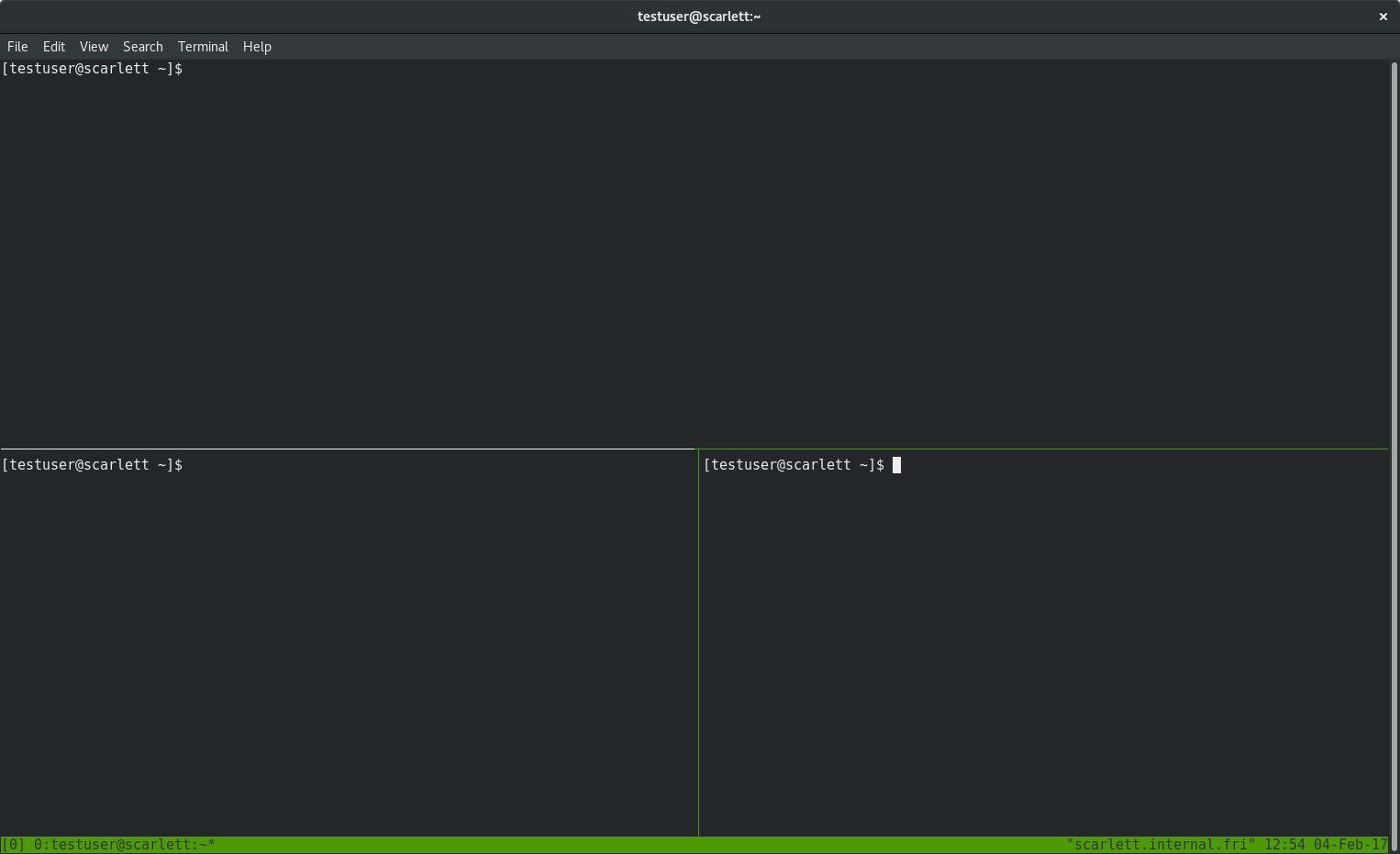 tmux window with three panes
