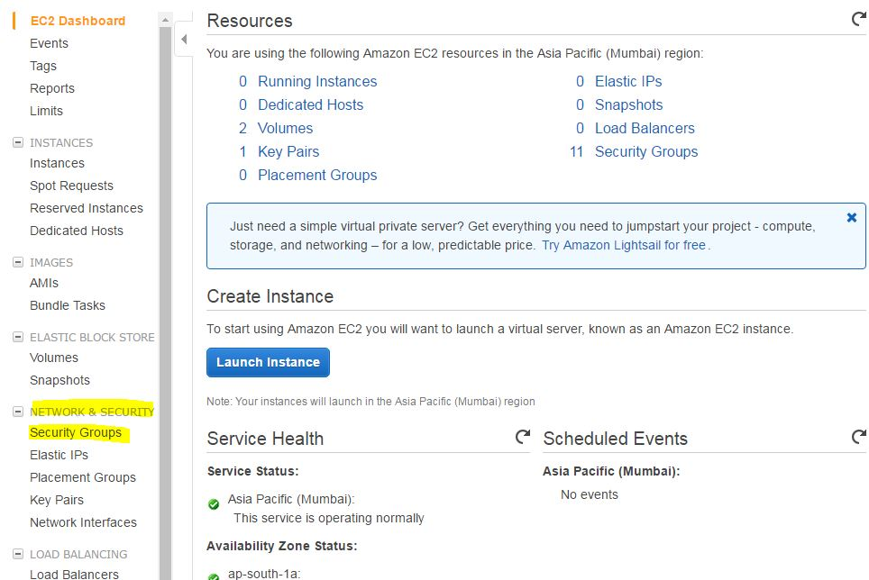 AWS EC2 management console