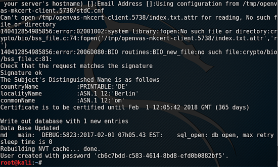 Command output during install