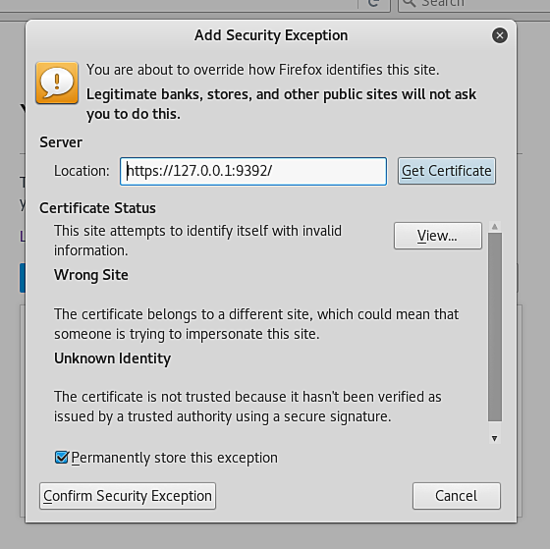 Accept the self-signed SSL cert