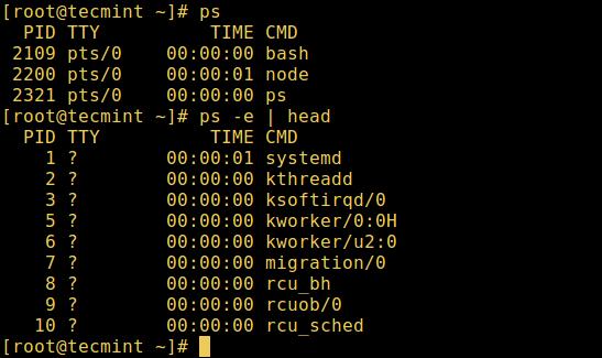 列出 Linux 活跃进程