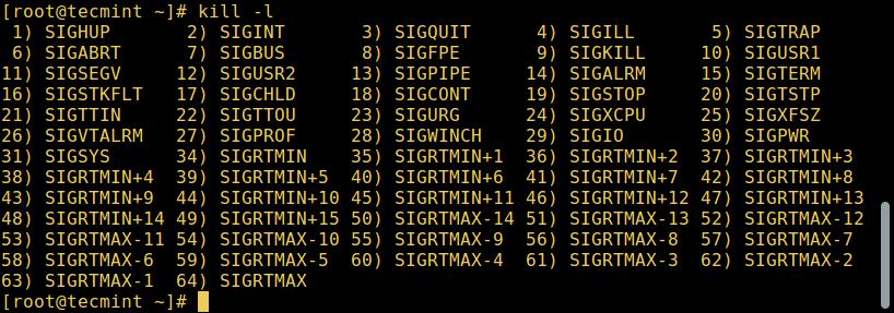 列出所有 Linux 信号