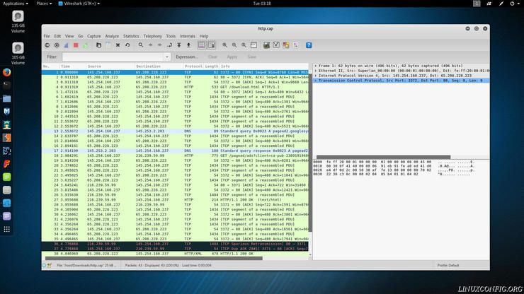Wireshark listing packet information