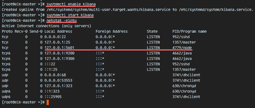 Kibana running as node application on port 5601