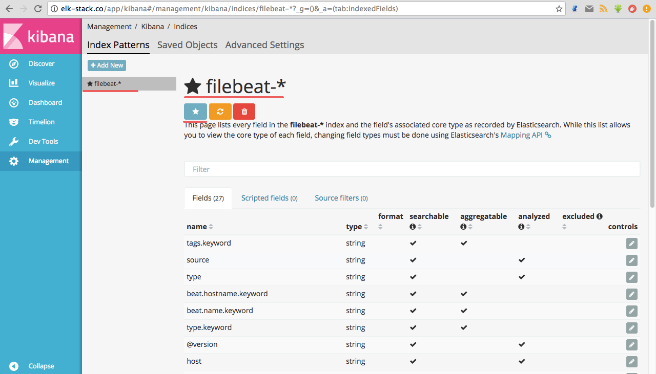Filebeat index as default index on Kibana Dashboard