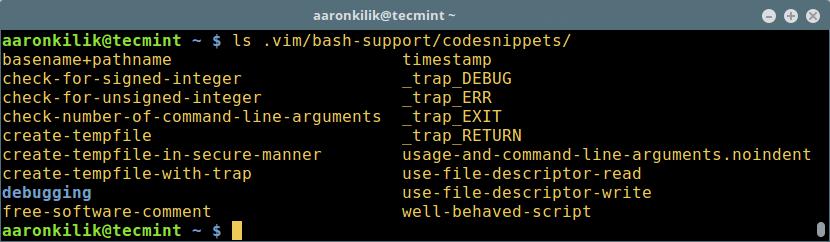 代码段列表