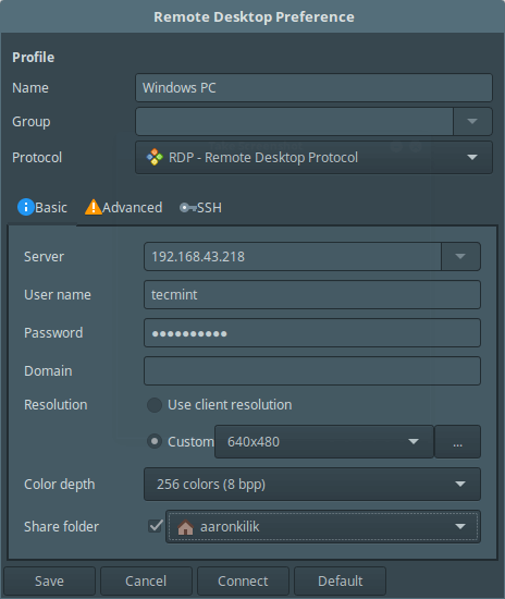 Remmina Basic Desktop Preferences