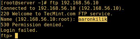 FTP User Login Failed