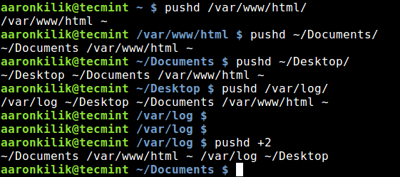 pushd - Directory Navigation with Number