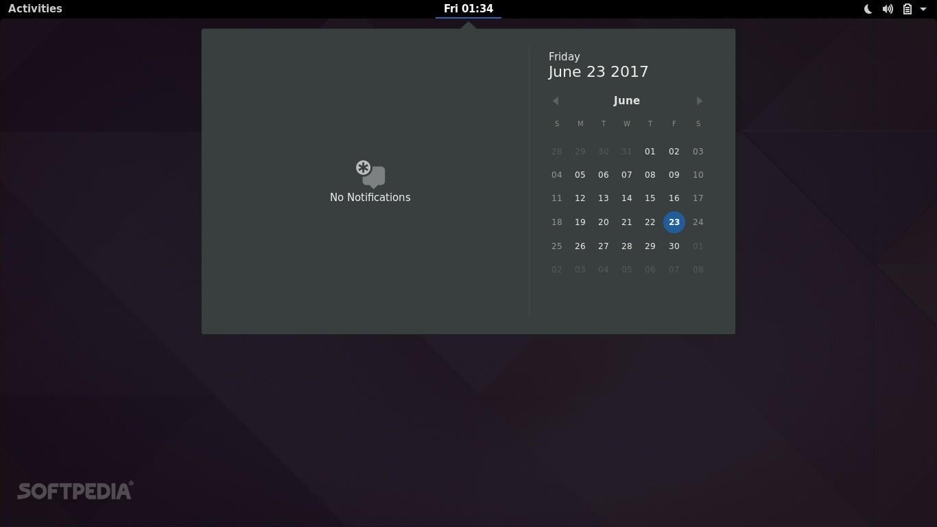 GNOME 3.24 desktop - Calendar applet