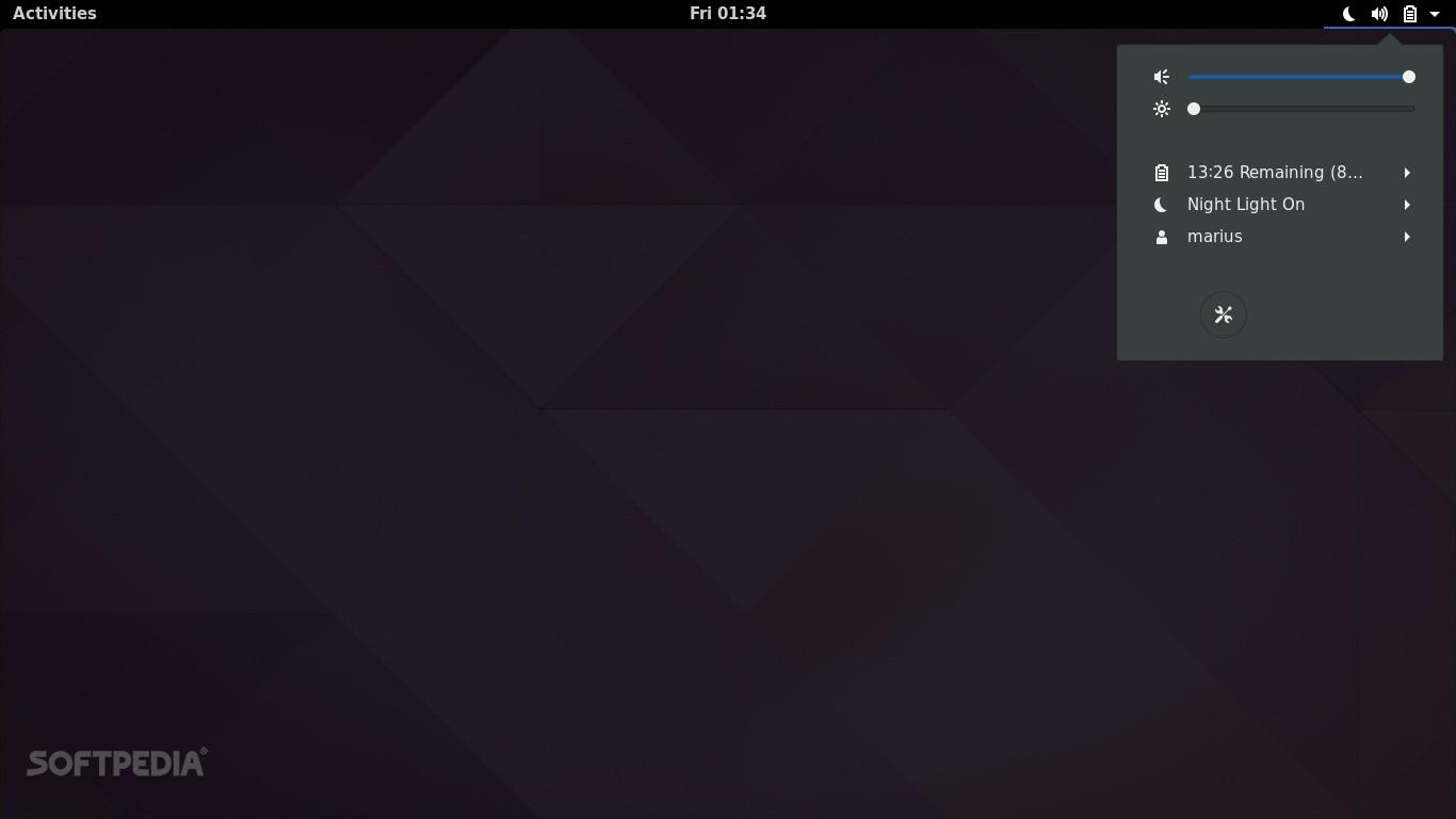 GNOME 3.24 desktop - System menu