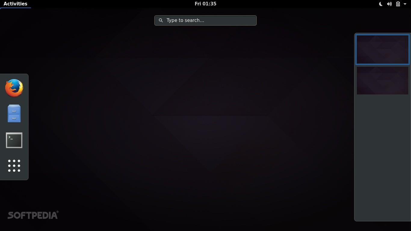 GNOME 3.24 desktop - Overview mode