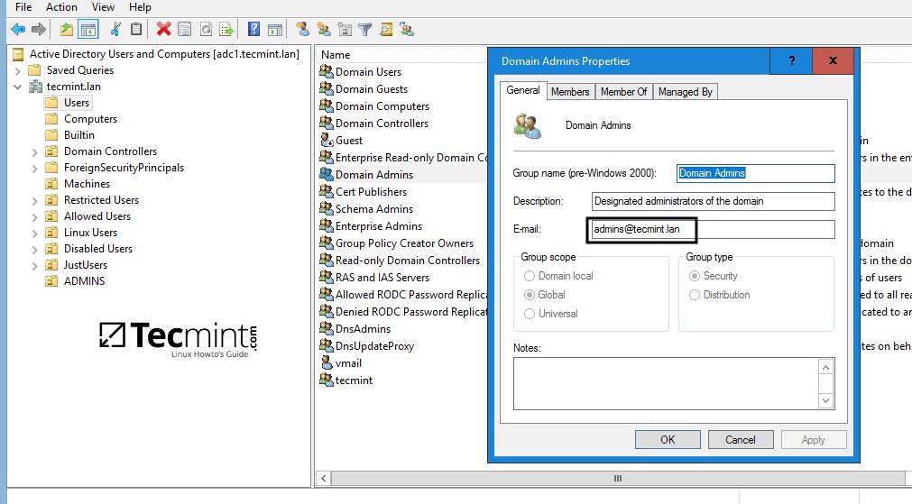 Create Group Admin for Samba4 AD DC